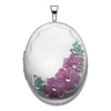 Sterling Silver Pink Enamel Flower Engraved Locket Pendant