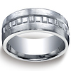 Argentium Silver 10mm Comfort-Fit Satin-Finished Box Pattern Design Band