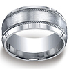 10mm Satin Rope Edge Argentium Silver Men's Wedding Band