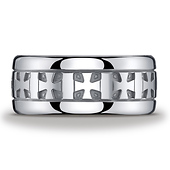 10mm Polished Argentium Silver Celtic Cross Benchmark Ring
