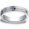 Argentium Silver 5mm Comfort-Fit Pave Set 6 Stone Black Diamond Design Band (.12ct)