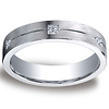 5mm Argentium Silver Satin Pave Set 6 Diamond Benchmark Wedding Ring 0.12 ctw