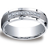 7mm Argentium Silver Satin Pave Set 9 Stone Diamond Benchmark Wedding Band 0.18 ctw
