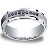 7mm Argentium Silver Pave Set 9 Stone Black Diamond Benchmark Wedding Ring 0.18ctw