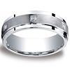7mm Argentium Silver Satin Pave Set 6 Stone Diamond Benchmark Wedding Ring 0.12ctw