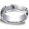 7mm Argentium Silver Satin Pave Set 6 Stone Black Diamond Benchmark Wedding Band 0.12ctw