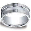 9mm Argentium Silver Satin 12 Stone Round Diamond Benchmark Wedding Ring
