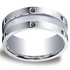 Argentium Silver 9mm Comfort-Fit Pave Set 12-Stone Black Diamond Design Band (.24ct)