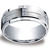 Argentium Silver 9mm Pave Set 12-Stone Diamond Design Band (.24ct)