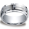 Argentium Silver 9mm Pave Set 12-Stone White & Black Diamond Design Band (.24ct)