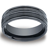 Ceramic 8mm Comfort-Fit Satin-Finished High Polished Center & Round Edge Design Ring