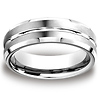 7mm Grooved Center Beveled Edge Benchmark Cobaltchrome Wedding Ring