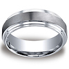 8mm Satin Center Double Step Edge Comfort-Fit Cobaltchrome Ring