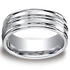 8mm Satin & Polished Grooved Comfort-Fit Cobaltchrome Ring for Men