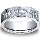 Christian Budded Cross 7mm Comfort-Fit CobaltChrome Benchmark Ring