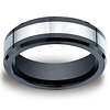 7mm Men's Two Tone Benchmark Ceramic Beveled Edge Cobaltchrome Ring