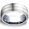 8mm Double Silver Inlay Benchmark Cobaltchrome Wedding Band