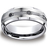Men's 3 Black Diamond Grooved Center Benchmark Cobaltchrome Ring