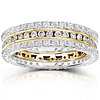 14K Two Tone Gold 1.50 CTW Round Diamond 3 Piece Eternity Ring Set