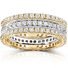 14KYW Gold 1.50 CTW Round Diamond 3 Piece Eternity Wedding Band Set