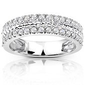 14K White Gold 2-Row Pave Round Cut Diamond Wedding Band 0.34ctw