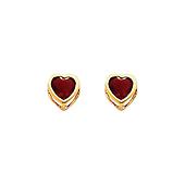 5mm 14K Yellow Gold Heart CZ Birthstone Stud Earrings