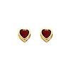 14K Yellow Gold 5mm Heart Bezel Set CZ Birthstone Stud Earrings for Lady and Children (Available in different birthstones)