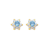 Flower 14K Yellow Gold Aquamarine CZ March Birthstone Stud Earrings
