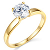 14K Yellow Gold Round Cut Solitaire CZ Engagement Ring