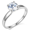 14K White Gold Round Cut Solitaire CZ Engagement Ring