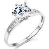 Round Channel set 14K White Gold CZ Engagement Ring
