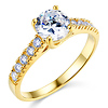 Round Cut Center Prong Set 14K Yellow Gold CZ Engagement Ring