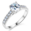 Round Cut Center Prong Set 14K White Gold CZ Engagement Ring