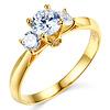 14K Yellow Gold Three Stone Round Cut   CZ Engagement Ring