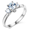 14K White Gold Accented Trellis Three Stone CZ Engagement Ring