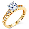 Round Cut 14K Yellow Gold CZ Engagement Ring
