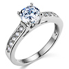 14K White Gold Round Cut Cathedral CZ Engagement Ring