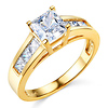 14K Yellow Gold Channel Side & Princess Cut CZ Engagement Ring