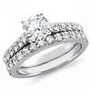 Sterling Silver Pave CZ Engagement Ring Set With Eternity Band