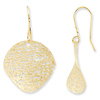 14KY Gold Mesh Small Circle Curved Dangle Earrings