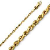 2mm Diamond-Cut 14K Yellow Gold Rope Chain