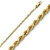 Solid 1.5mm Diamond Cut Rope 14K Yellow Gold Chain & Lobster Clasp