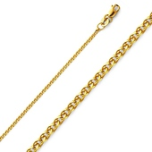 1.5mm 14K Yellow Gold Flat Open Wheat  Chain Necklace