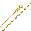 14K Yellow Gold 1.2mm Classic Rolo Cable Chain Necklace with Spring Clasp