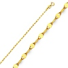 14K Yellow Gold 2mm Twisted Mirror Chain Necklace with Spring Ring Clasp