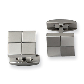 Checker Pattern Brushed & Polished Titanium Cuff Links