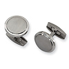 Titanium Round Brushed & Polished Cuff Links
