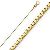 0.5mm 14K Yellow Gold Box Chain Necklace