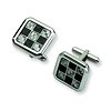 Checkered Stainless Steel Black & Grey Carbon Fiber Cuff Links