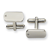 Diamond Accented Stainless Steel Cuff Links